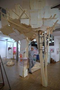 Aufbau in der Galerie Jaeschke, Braunschweig